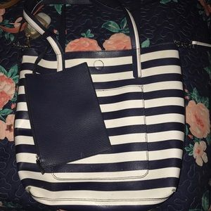 Navy blue & White Stripe purse